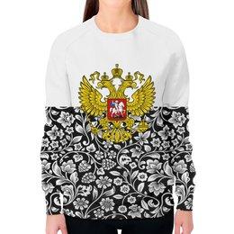 """Свитшот женский с полной запечаткой """"Цветы и герб"""" - цветы, россия, герб, орел, хохлома"""