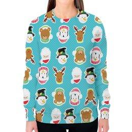 """Свитшот женский с полной запечаткой """"Новый год"""" - новый год, медведь, санта, олень, пингвин"""