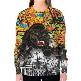 """Свитшот женский с полной запечаткой """"Черный Тигр"""" - кот, черный, город, тигр, урбанистический"""
