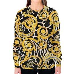 """Свитшот женский с полной запечаткой """"Gold Vintage"""" - узоры, винтаж, золотой, модникам, бароко"""