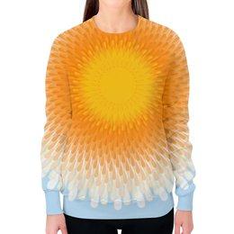 """Свитшот женский с полной запечаткой """"Орнамент Яркое солнце"""" - девушка, солнце, женщина, орнамент, абстракция"""