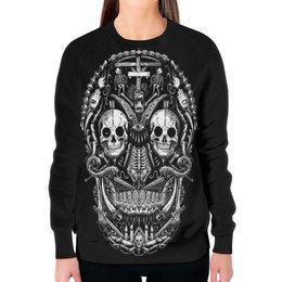 """Свитшот женский с полной запечаткой """"Skull Art"""" - skull, череп, skeleton, скелет, арт дизайн"""
