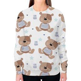 """Свитшот женский с полной запечаткой """"Cute Teddy"""" - мишка, тедди, teddy, мишка тедди"""