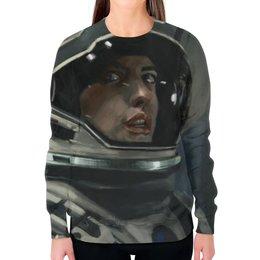 """Свитшот женский с полной запечаткой """"Интерстеллар (Interstellar)"""" - космос, астронавт, космонавт, интерстеллар, interstellar"""