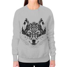 """Свитшот женский с полной запечаткой """"Волк Стилизация"""" - рисунок, графика, волк, минимализм, чёрное и белое"""