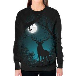 """Свитшот женский с полной запечаткой """"Ночной Олень"""" - луна, олень, рога"""