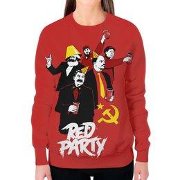 """Свитшот женский с полной запечаткой """"Red Party"""" - ленин, маркс, коммунизм, сталин, фидель кастро"""