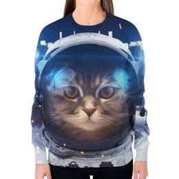 """Свитшот женский с полной запечаткой """"Кот в скафандре"""" - животные, рисунок, космос, дизайн, коты"""