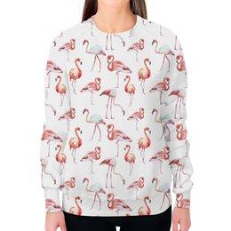 """Свитшот женский с полной запечаткой """"Фламинго"""" - любовь, лето, птицы, розовый, иллюстрация"""