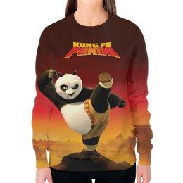 "Свитшот женский с полной запечаткой ""Кунг-фу Панда 3"" - панда, panda, единоборства, кунг-фу, kung fu"