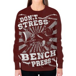 """Свитшот женский с полной запечаткой """"Bench Press"""" - спорт, бодибилдинг, культурист, арт дизайн, штанга"""