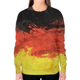 """Свитшот женский с полной запечаткой """"Флаг Германии"""" - флаг, германия, germany"""