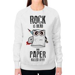 """Свитшот женский с полной запечаткой """"Rock is Dead"""" - игры, рок, rock, прикольные, камень ножницы бумага"""