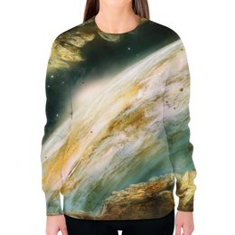 """Свитшот женский с полной запечаткой """"Познание Вселенной"""" - space, космос, наука, марс, thespaceway"""
