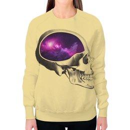 """Свитшот женский с полной запечаткой """"Вселенная"""" - череп, арт, космос, вселенная"""