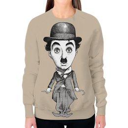 "Свитшот женский с полной запечаткой ""Charlie Chaplin"" - кино, комик, charlie chaplin, чарли чаплин, актёр"