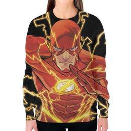 """Свитшот женский с полной запечаткой """"Молния (The Flash)"""" - молния, флэш"""