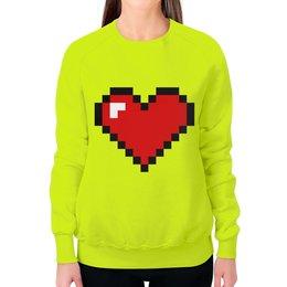 """Свитшот женский с полной запечаткой """"Сердце (8 bit)"""" - сердце, 8 bit, сердечки, wax, сердце 8 вит"""