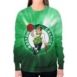 """Свитшот женский с полной запечаткой """"Бостон Селтикс (Boston Celtics)"""" - nba, нба, бостон селтикс"""