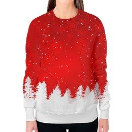 """Свитшот женский с полной запечаткой """"Christmas"""" - новый год, снег, рождество, снежинки, елки"""