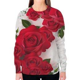 """Свитшот женский с полной запечаткой """"8 марта"""" - цветы, 8 марта, розы"""