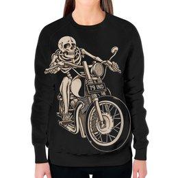 """Свитшот женский с полной запечаткой """"Skeleton Biker"""" - skeleton, скелет, мотоцикл, байкер, biker"""