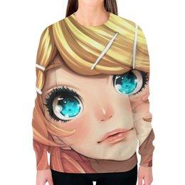 """Свитшот женский с полной запечаткой """"Anime Girls"""" - глаза, манга, блондинка, япония"""