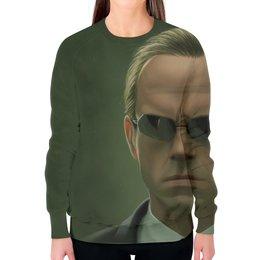 """Свитшот женский с полной запечаткой """"Агент Смит (Матрица)"""" - матрица, matrix, агент смит"""