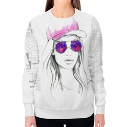 """Свитшот женский с полной запечаткой """"Фэшн иллюстрация. Девушка в розовых очках"""" - арт, стильный, модный"""