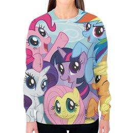 "Свитшот женский с полной запечаткой ""My Little Pony"" - rainbow dash, my little pony, applejack, friendship is magic, twilight sparkle"