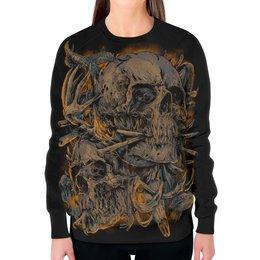 """Свитшот женский с полной запечаткой """"Skull Art"""" - skull, череп, кости, арт дизайн, череп с ргами"""