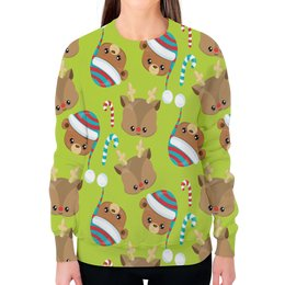 """Свитшот женский с полной запечаткой """"Мишки"""" - конфеты, новый год, мишка, олень, медведи"""