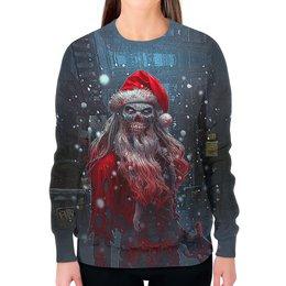 """Свитшот женский с полной запечаткой """"Zombie Claus"""" - череп, юмор, новый год, зомби, санта клаус"""