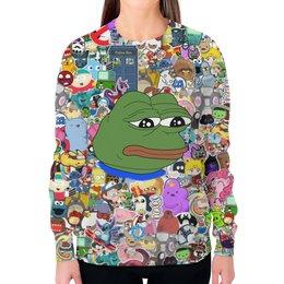 """Свитшот женский с полной запечаткой """"Pepe Frog"""" - мем, meme, грустная лягушка, sad frog, pepe frog"""