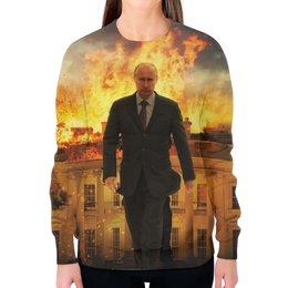 """Свитшот женский с полной запечаткой """"Путин (Putin)"""" - путин, putin"""