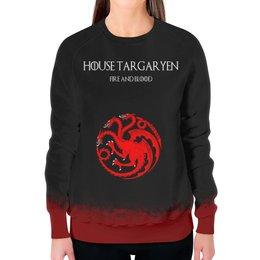 """Свитшот женский с полной запечаткой """"House Targaryen"""" - сериал, игра престолов, game of thrones, targaryen, таргариены"""