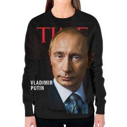 """Свитшот женский с полной запечаткой """"Putin """" - россия, russia, путин, президент, putin"""