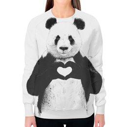 """Свитшот женский с полной запечаткой """"Панда"""" - сердце, медведь, панда"""