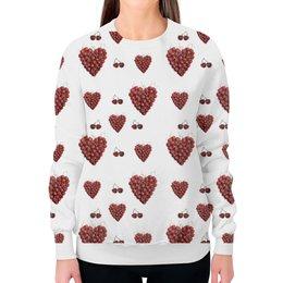 """Свитшот женский с полной запечаткой """"Вишневое сердце"""" - сердце, любовь, романтика, красный, вишня"""