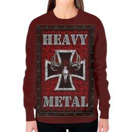"""Свитшот женский с полной запечаткой """"Heavy Metal Art"""" - heavy metal, рок музыка, арт дизайн, хеви метал, rock music"""