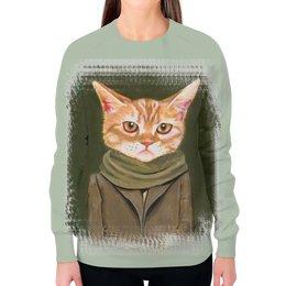 """Свитшот женский с полной запечаткой """"Кот в пальто"""" - кот, прикол, рисунок, cat, одежда"""
