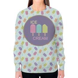 """Свитшот женский с полной запечаткой """"Ice-cream"""" - лето, еда, паттерн, холод, мороженое"""