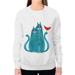 """Свитшот женский с полной запечаткой """"Коты и птицы"""" - кот, арт, птица, подарок, школа"""