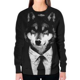 """Свитшот женский с полной запечаткой """"Мистер Волк"""" - животные, волк"""