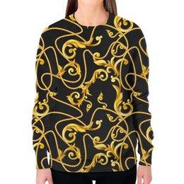 """Свитшот женский с полной запечаткой """"Vintage Design"""" - узоры, винтаж, золотой, барокко, модницам"""