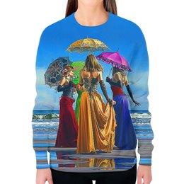 """Свитшот женский с полной запечаткой """"Umbrellas"""" - жене, море, искусство, женщине, зонтики"""
