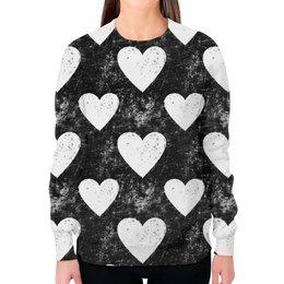 """Свитшот женский с полной запечаткой """"Черно-белые сердца """" - сердца, ретро, черно-белые"""