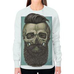"""Свитшот женский с полной запечаткой """"Skull Art"""" - skull, череп, борода, artwork, арт дизайн"""