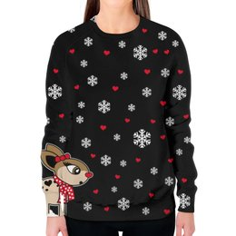 """Свитшот женский с полной запечаткой """"Новогодний свитер"""" - праздник, сердце, любовь, новый год, снег"""