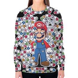 """Свитшот женский с полной запечаткой """"Марио"""" - арт, игра, марио, таблетки"""